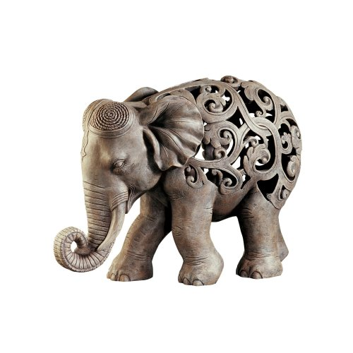 Design Toscano Anjan the Elephant Indian Decor Jali Animal Statue, 30.5 cm, Polyresin, Brown Stone