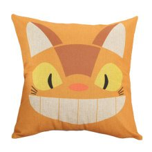 Decor Cotton Linen Decorative Throw Pillow Case Cushion Cover,Yellow Cat