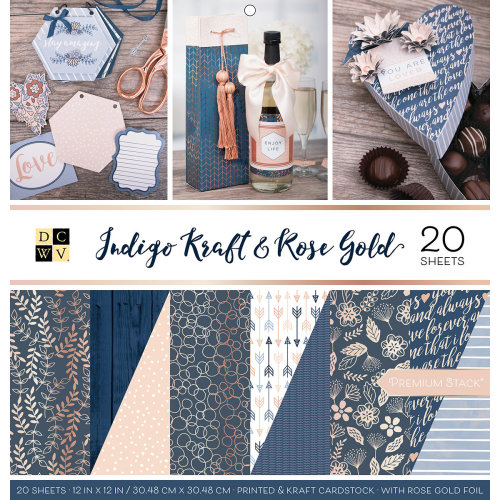 "DCWV Double-Sided Cardstock Stack 12""X12"" 20/Pkg-Indigo Kraft & Rose Gold, 10 Des/2 Each"