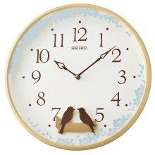 Seiko QXC237Z Swinging Bird Pendulum Wall Clock with Wood Effect Case