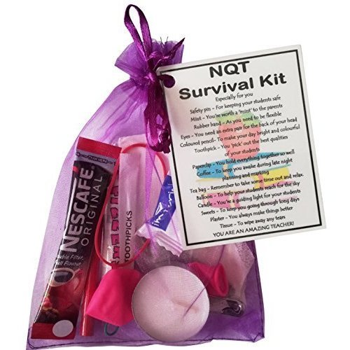 NQT Survival Kit Teacher Gift  - Newly Qualified Teacher gift for Christmas, New Teacher Secret Santa, funny student teacher gifts, thank you trainee
