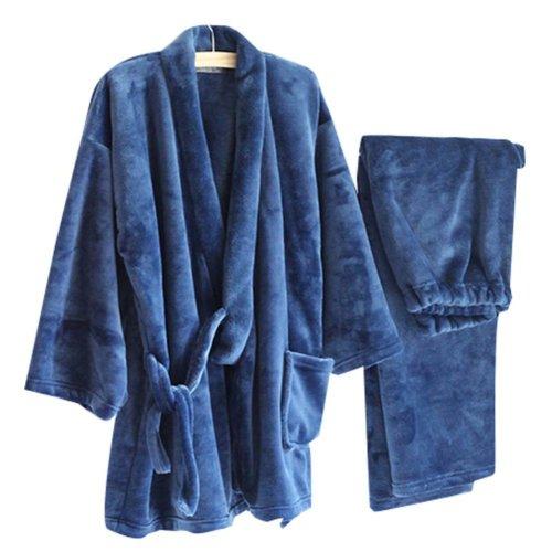 Autumn&Winter Men's Kimono Pajamas Warm Flannel Khan Steamed Clothes,Blue