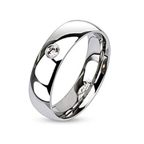 Single Clear Crystal Traditional Wedding Band Stainless Steel Ring