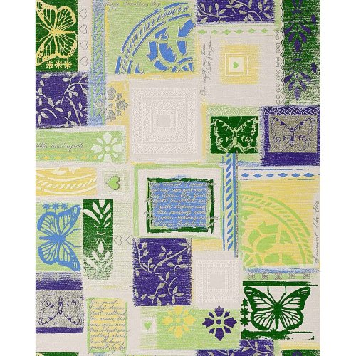 EDEM 071-25 wallpaper scrapbooking style butterfly white green lilac | 5.33 sqm