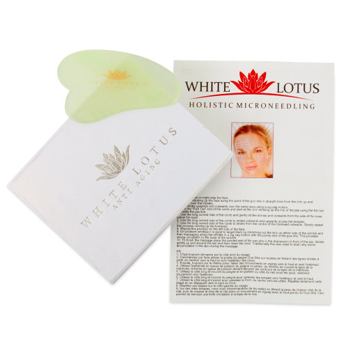 Pure Jade Gua Sha In Traditional Silk Lined Box By White Lotus