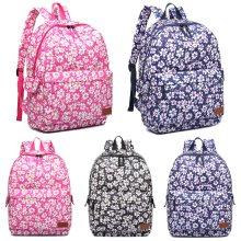 KONO Women Backpack Girls School Bag Flower Matte Oilcloth