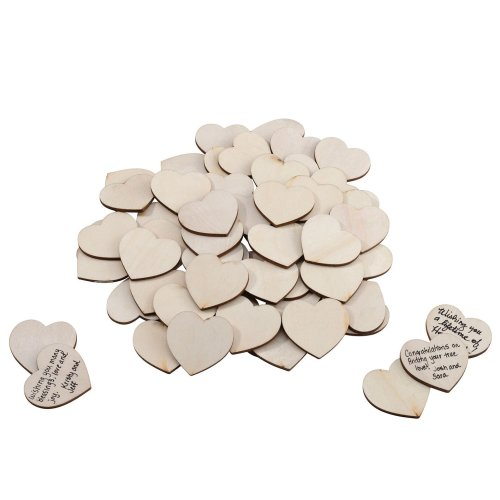 Wooden Signing Hearts Set of 48