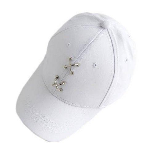 Metal Cross Decoration Sports Caps Fashion Caps Ladies Baseball Caps White