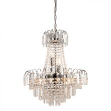 Clear Faceted Glass Beads & Chrome Effect Plate 6lt Pendant 40W by Happy Homewares