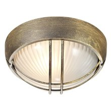 Black/Gold Die Cast Aluminium Outdoor Circular Bulkhead Porch or Wall Light by Happy Homewares