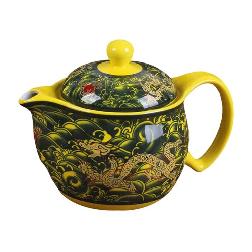 Elegant Porcelain Loose Leaf Teapot with Strainer Chinese Dragon Pattern