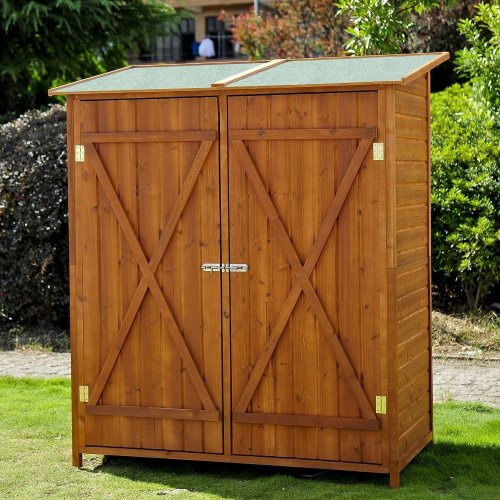 Outsunny Wooden Outdoor Shed | Double Door Garden Storage