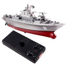 RC Mini Aircraft Carrier Transporter Boat Model - 2.4GHz Sync System for Multi Players (Colour May Vary GRAY or BLUE)