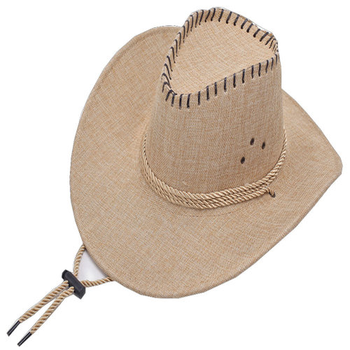 549aa357 58cm Men Summer Western Cowboy Hat Linen Hat Sun Hat Wide Brim Hat with  Strap,#3 on OnBuy