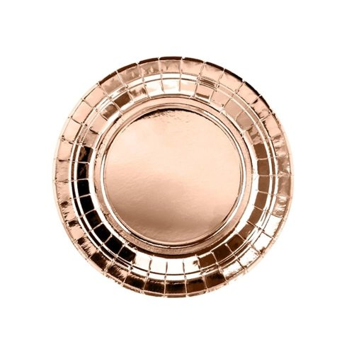 Rose Gold Round Paper Party Plates 18cm x 6  Birthday Wedding