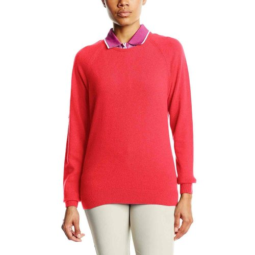 ProQuip Golf Julia Ladies Lambswool Sweater Crew Neck Jumper Coral X-Large