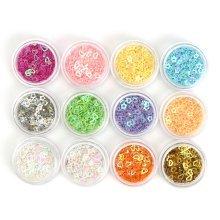12 Colors Nail Glitter Dust Powder Sequins Tips 3D Heart Shape Manicure Decoration