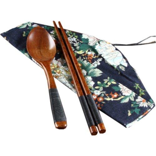 Japaness Kitchen Tableware Dinnerware Flatware Eco friendly Wood Cutlery Wooden Dinner Set #9