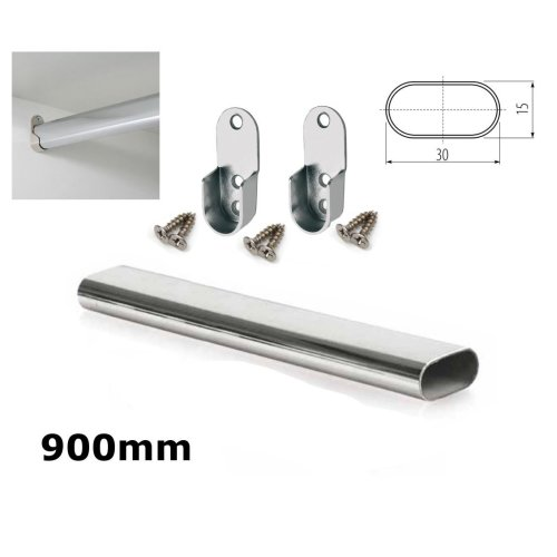 WARDROBE RAIL OVAL CHROME HANGING RAIL 900MM FREE END SUPPORTS & SCREW