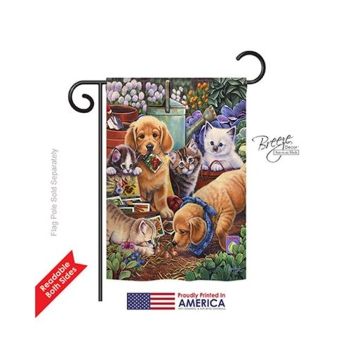 Breeze Decor 60045 Pets Helpful Garden Paws 2-Sided Impression Garden Flag - 13 x 18.5 in.
