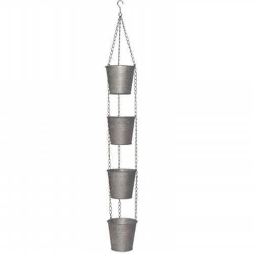 National Tree  30 in. Chain Of 4 Metal Pots - Antique Silver