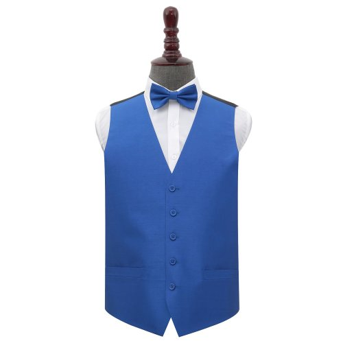 Royal Blue Shantung Wedding Waistcoat & Bow Tie Set 48'