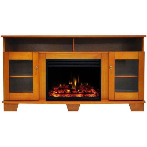 Cambridge CAM6022-1TEKLG3 Savona Electric Fireplace Heater with 59 in. Teak TV Stand Enhanced Log Display, Multi Color Flames & Remote