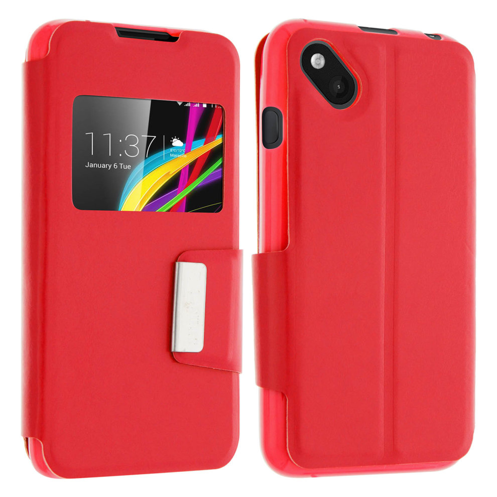 Window Flip Case Smart View Slim For Wiko Sunset 2 Red On