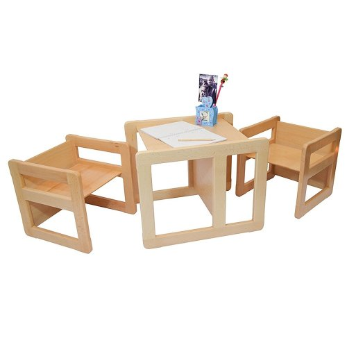 Obique Multifunctional Furniture Set of 3, 2 Chairs & 1 Table, Natural