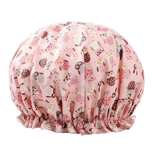 Womens Stylish Design Mold-resistant Shower Cap Double Layers Waterproof Bath Cap,G