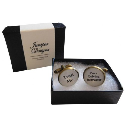 "Handcrafted ""Trust Me I'm a Driving Instructor"" Cuff links  - Excellent Valentine's Day, Christmas, thank you or birthday gift"