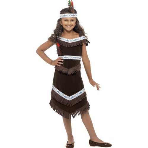 Medium Brown Girls Indian Girl Costume -  costume indian dress fancy girl outfit squaw girls native pocahontas kids red book week american childrens