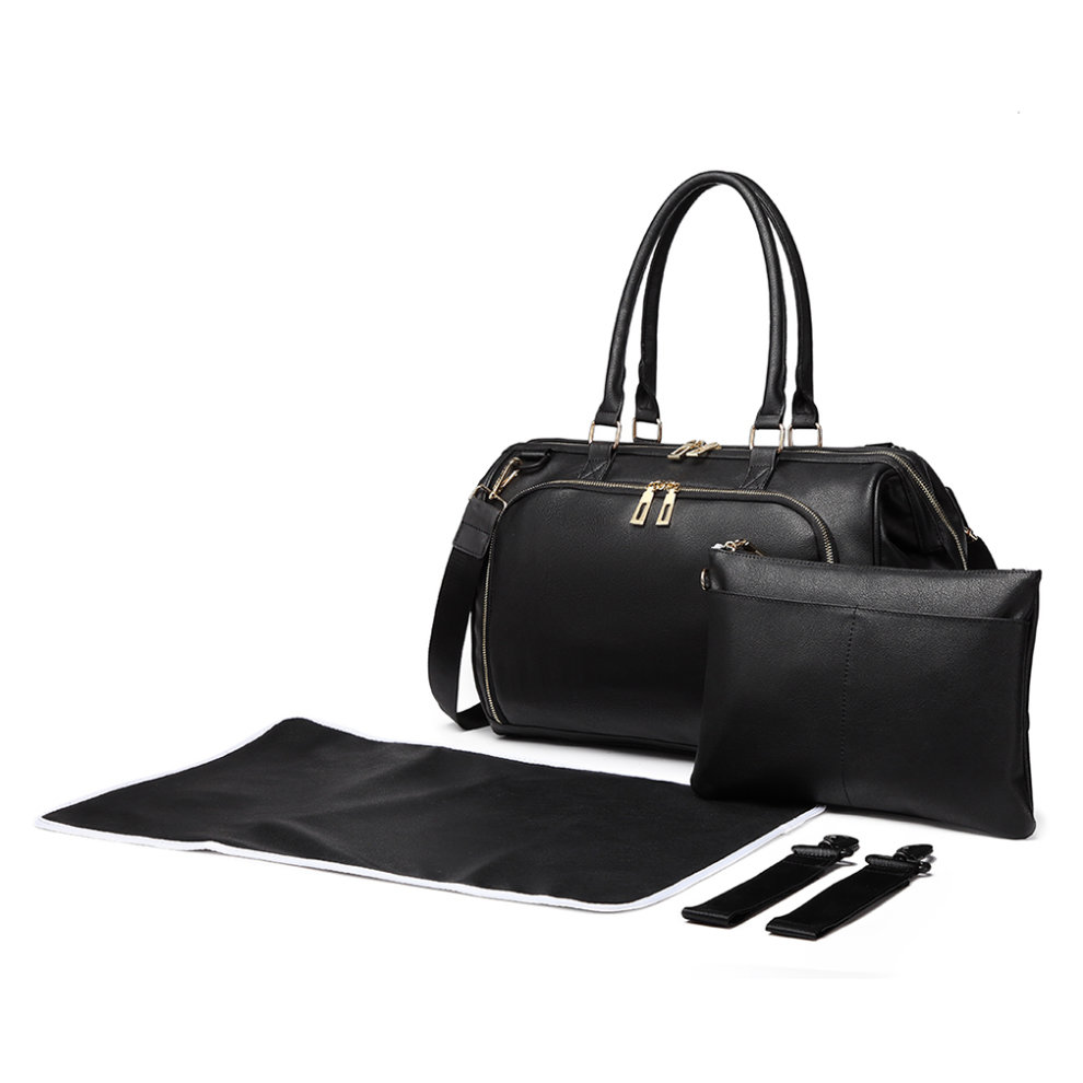 660b0e9c8e6c2 ... Miss Lulu 3 Pieces Baby Nappy Diaper Changing Bag PU Leather Black - 2  ...