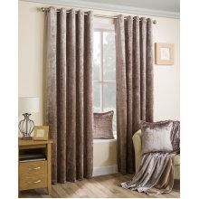 Velva crushed velvet bronze eyelet curtains