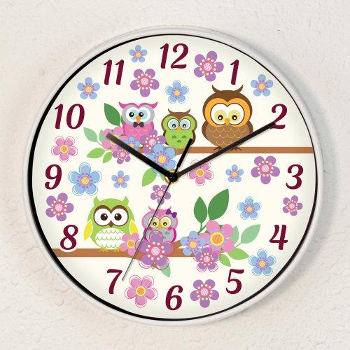 Curious Owls ChildrenWall Clock Kids Room