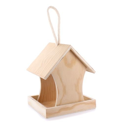 Wooden Bird Feeder With Cord To Decorate - 10cm x 9cm x 12cm