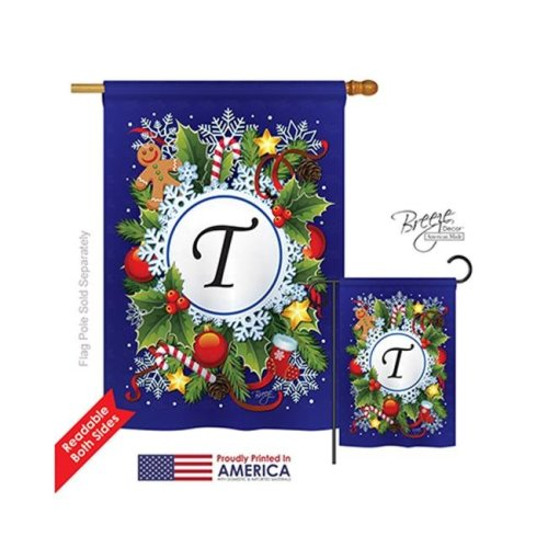 Breeze Decor 30098 Winter T Monogram 2-Sided Vertical Impression House Flag - 28 x 40 in.