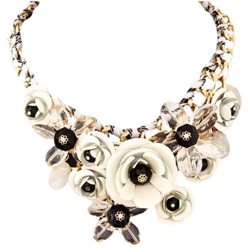 Colorful Flower Jewels Fashion Pendant Cord Necklace Shirt Decoration