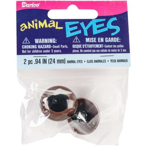 Shank Back Animal Eyes 24mm 2/Pkg-Brown