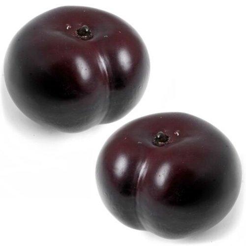 Set of 2 Artificial Plums - Decorative Plastic Fake Fruit - Purple Plum