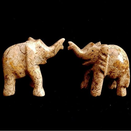Pair of Stone Elephants Animal Ornament