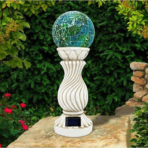 Solar Powered Mosaic Ball On Column Outdoor Garden Light Decoration