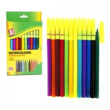 12pc Pack Asst Colour Water Colour Pens In Pvc Pouch -  pens watercolour felt tip colouring drawing art 12 x
