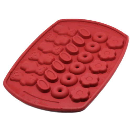 Safe And Soft Silicon Ice Cube Tray With Cute Pattern, Red