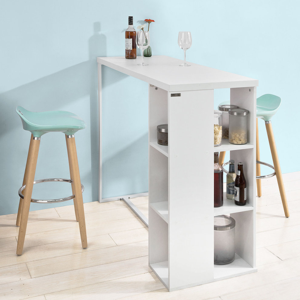 Kitchen Bar Table With Storage: SoBuy® FWT39-W, Kitchen Bar Table Dining Table With 3-Tier Storage Rack On OnBuy