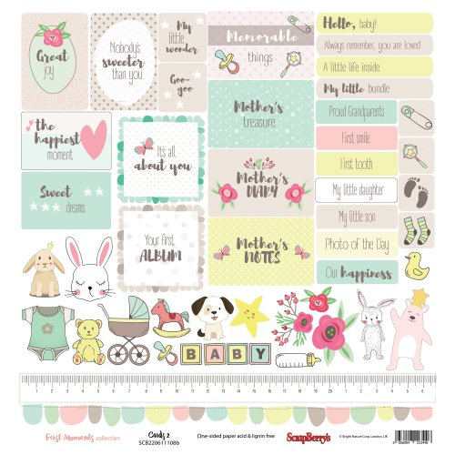 "Scrapberry's First Moments Single-Sided Cardstock 12""X12""-Cards #2"