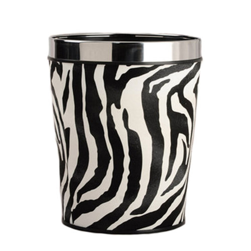 Household Wastebasket Round Trash Can/Bins for Home/Kitchen/Office 12L - Zebra