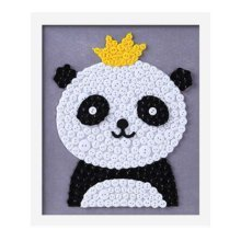 Cute Panda DIY Button Painting Mosaic Craft for Kids