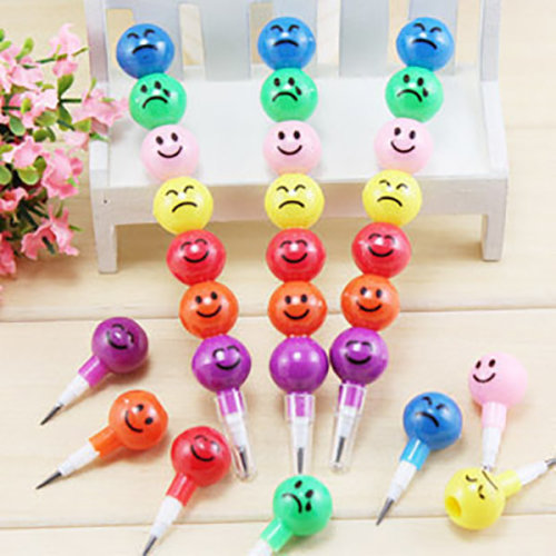 Colourful Emoji Stacking Swap Point Pencils