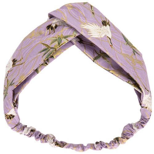 Adjustable Bow Japanese Styles Cross Hair Band Headband For Women, Purple, Crane #2